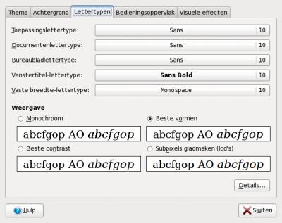 De originele lettertype instellingen onder Ubuntu