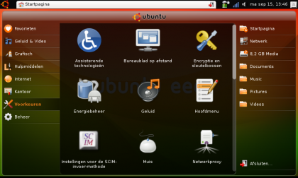 Ubuntu Netbook Remix interface