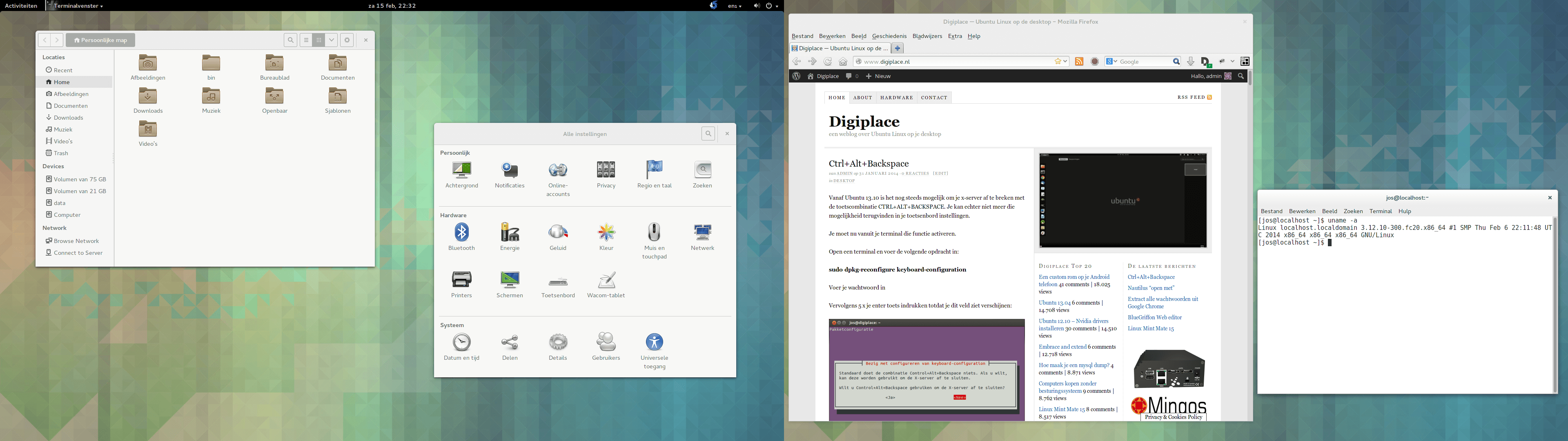 Screenshot van Fedora 20, dual screen, GNOME 3.10