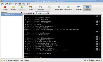 Ubuntu JeOS draait onder VMware server 1.07