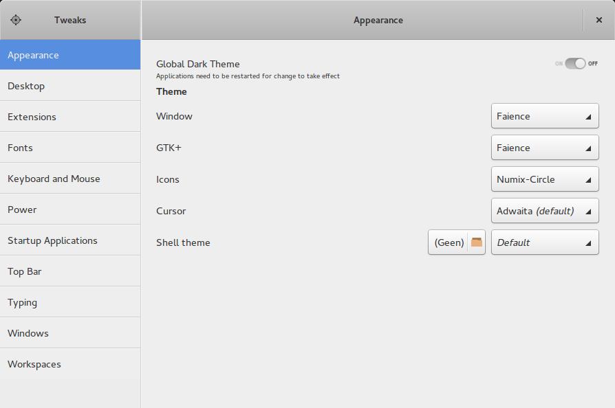 Ubuntu GNOME met Faience – Numix