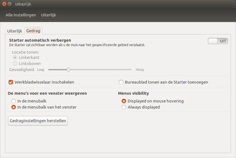 Systeeminstellingen Ubuntu 16.04